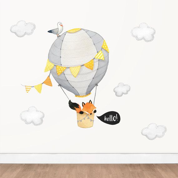 Hello fox hot air balloon wall decal yellow and grey watercolor decal kids animal decal nursery playroom decor wall sticker removable pinterest