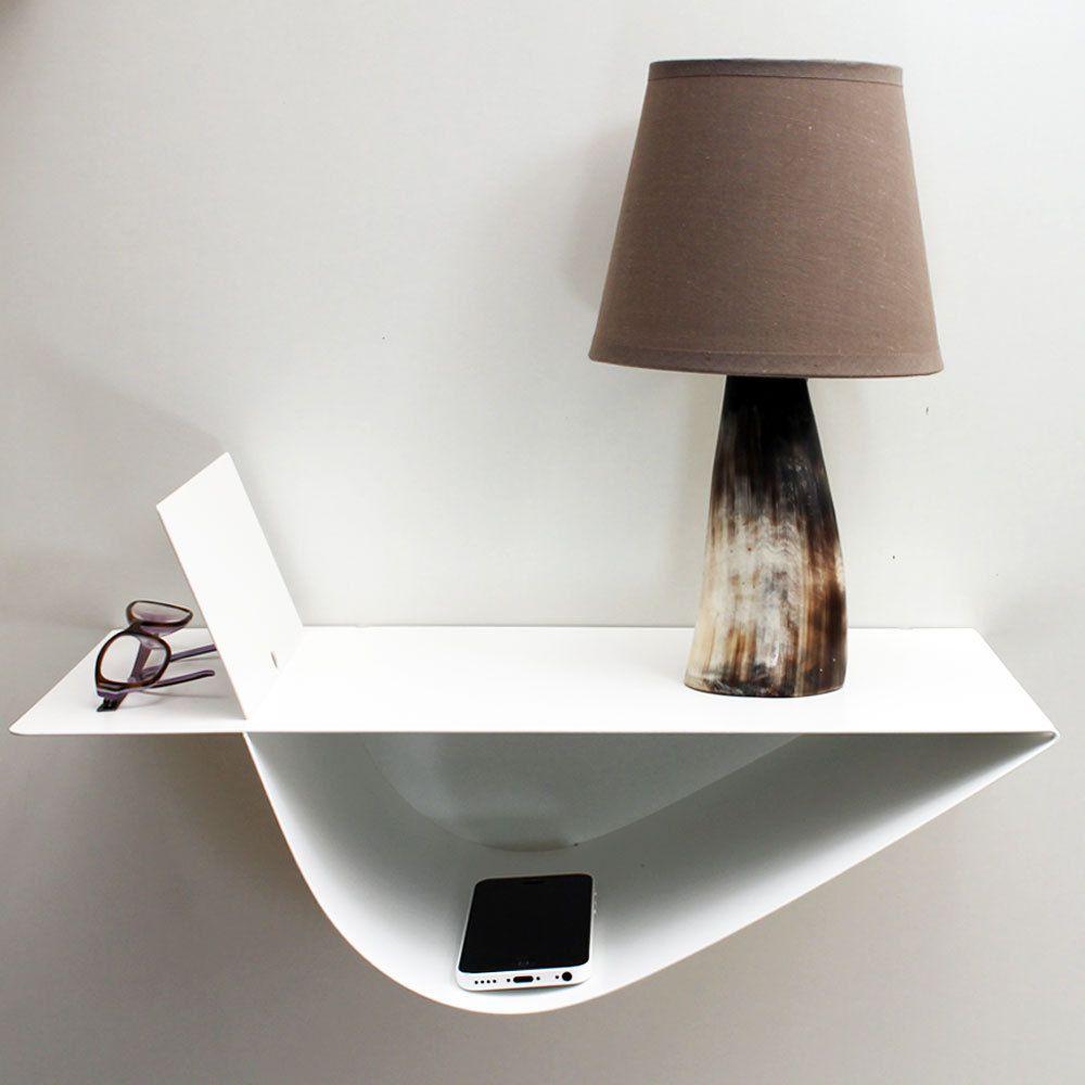 Chevet Suspendu Design Zen Blanc Chevet Mural Gauche