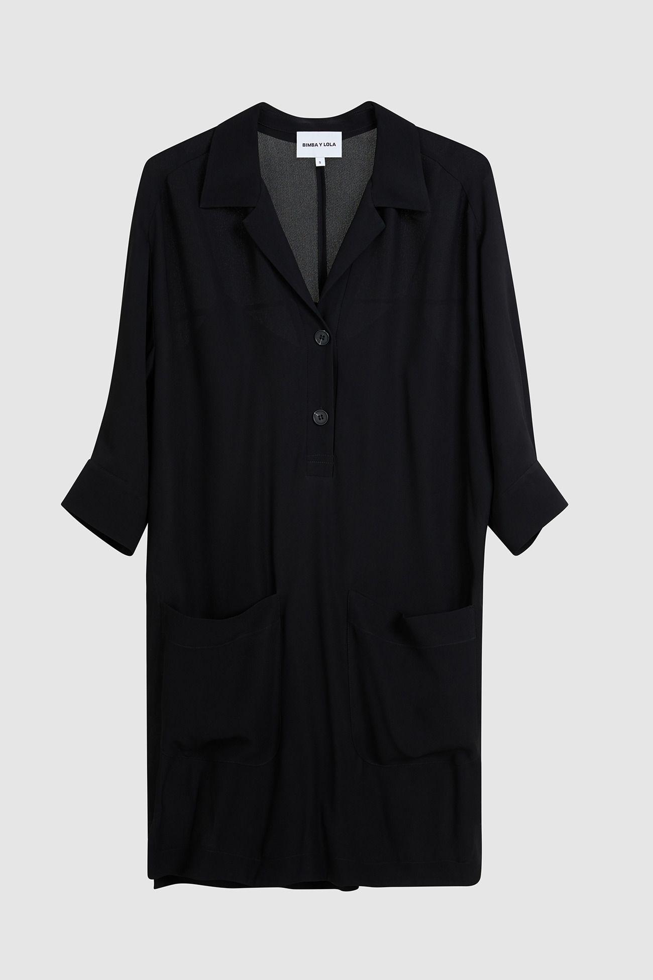 bf3ed18a3e592 Vestido camisero negro-181BR9017.T1000