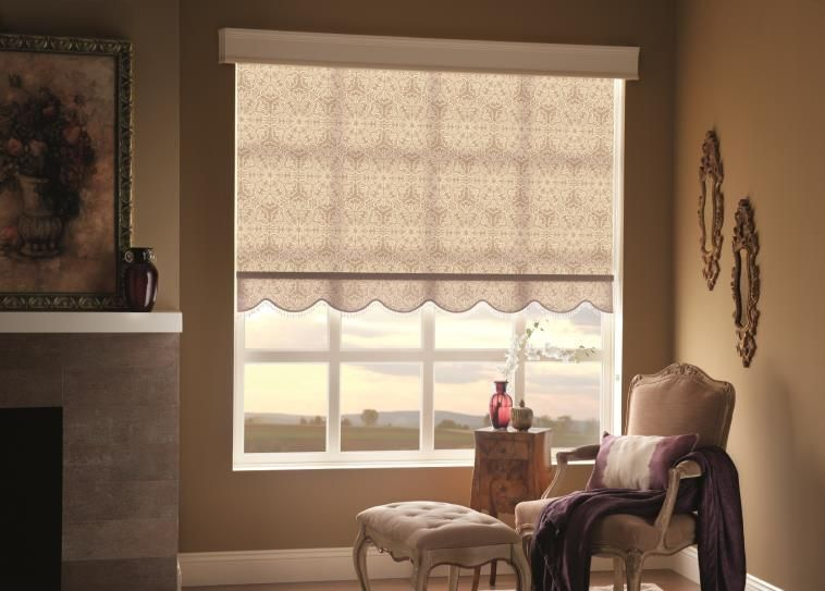 By Combining A Floral Print And Cornice The Roller Shade