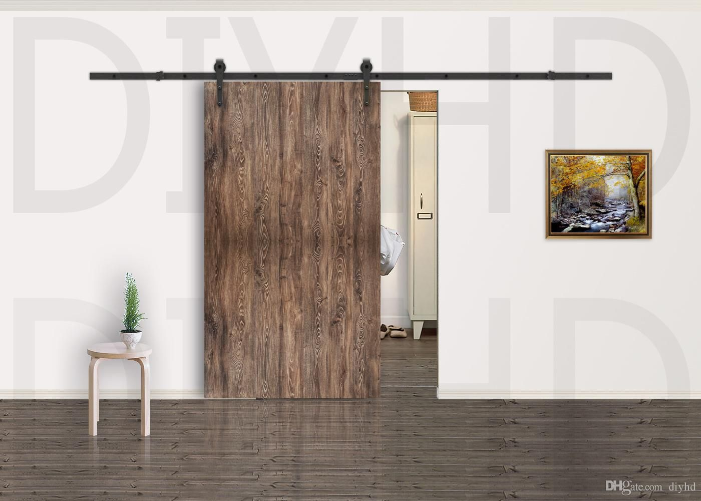 5 8ft Modern Rustic Black Arrow Wheel Sliding Barn Door