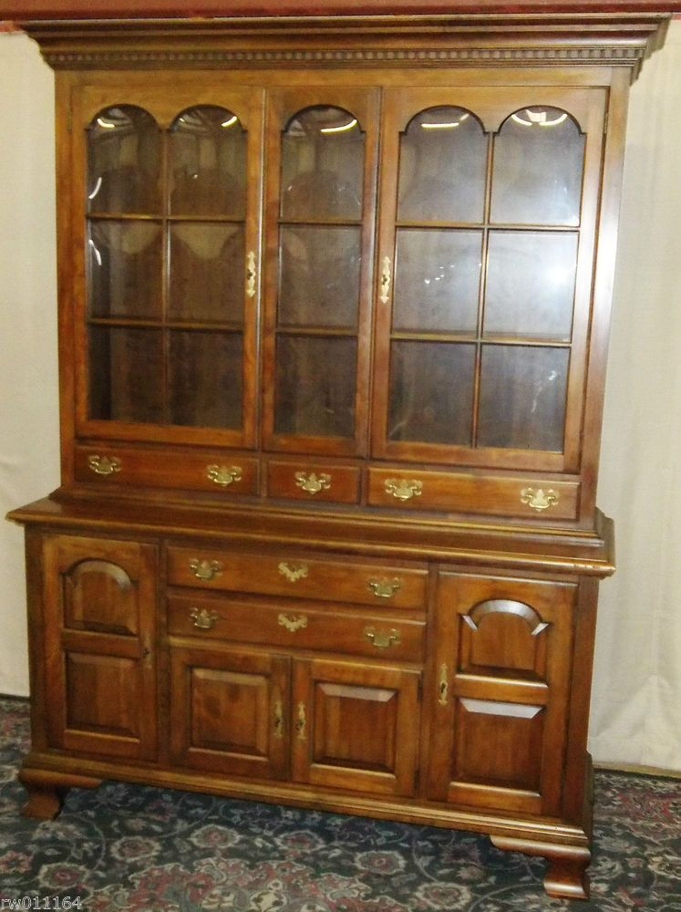 Charming VINTAGE Pennsylvania House China Cabinet, Hutch With Bubble Glass  #PennsylvaniaHouse Cupboard, Dining Room