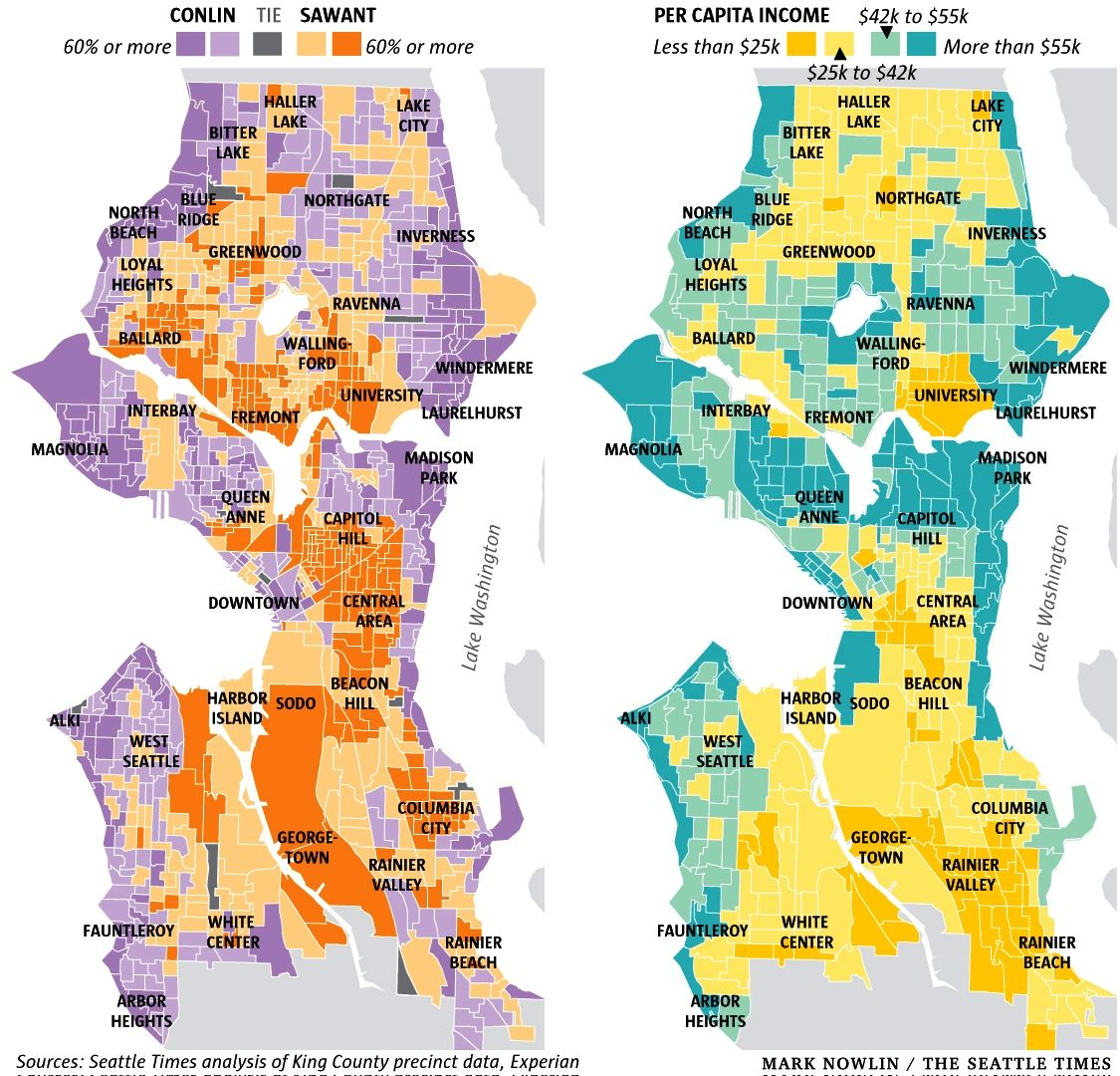 Infographic Maps Of Seattle Voting Patterns And Incomes - Map puget sound area