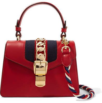 152eddd7f1fc3b Gucci - Sylvie Mini Chain-trimmed Leather And Canvas Shoulder Bag - Red # gucci #ShopStyle #MyShopStyle click link for more information