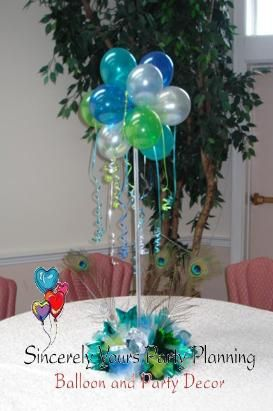 Triad nc balloon centerpieces sweet 16 birthday party for Balloon decoration ideas for sweet 16