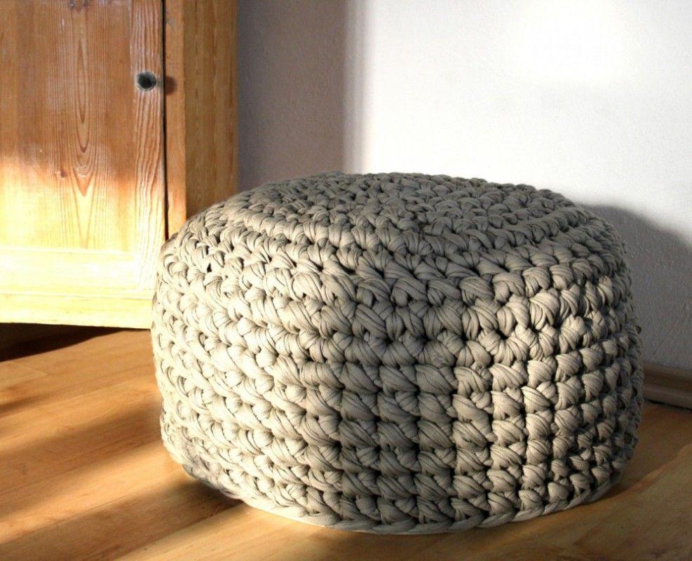 Gehäkelter Pouf Aus Textilgarn Schnkenhausen Pinterest Crochet