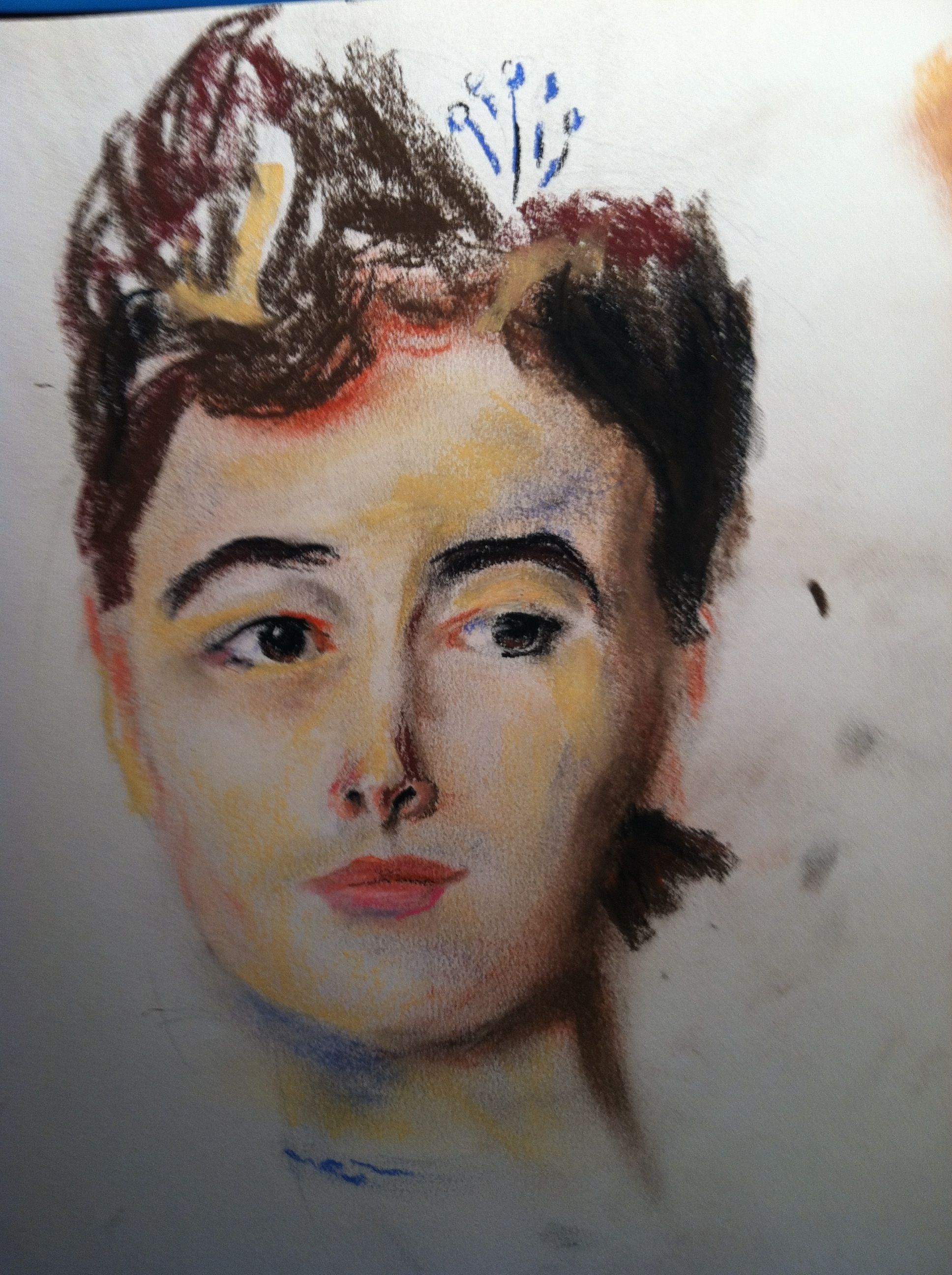 1/2 hour sketch in conte, appropriation of a portrait by John Singer Sargent.