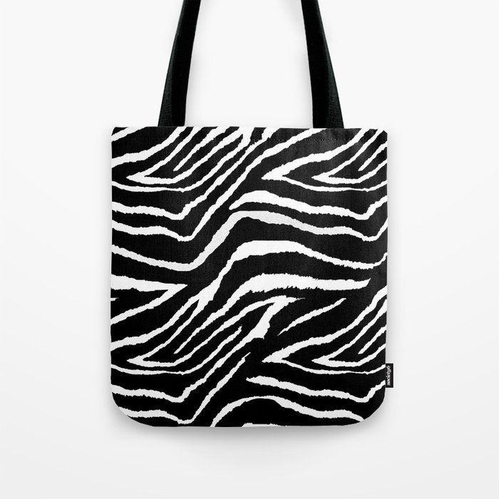 Photo of Animal Print Zebra Black And White Canvas Tote Bags by Saundra Myles – 13″ x 13″