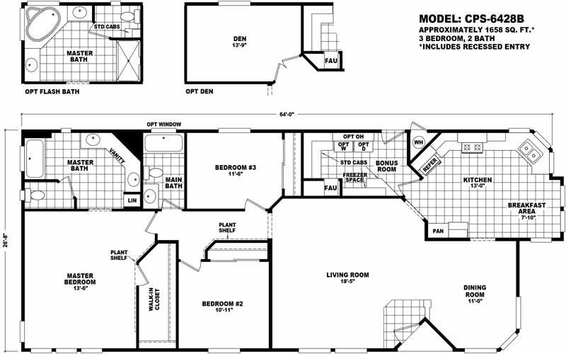 Cavco Arizona 3 Bedroom Manufactured Home Cps 6428b For 84900 Model Cps6428b From Home Modular Home Plans Manufactured Homes Floor Plans House Floor Plans
