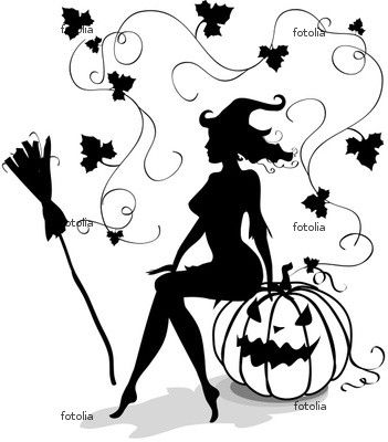 WITCH - jack-o-lantern - pumpkin - broom - leaves - black and white ...