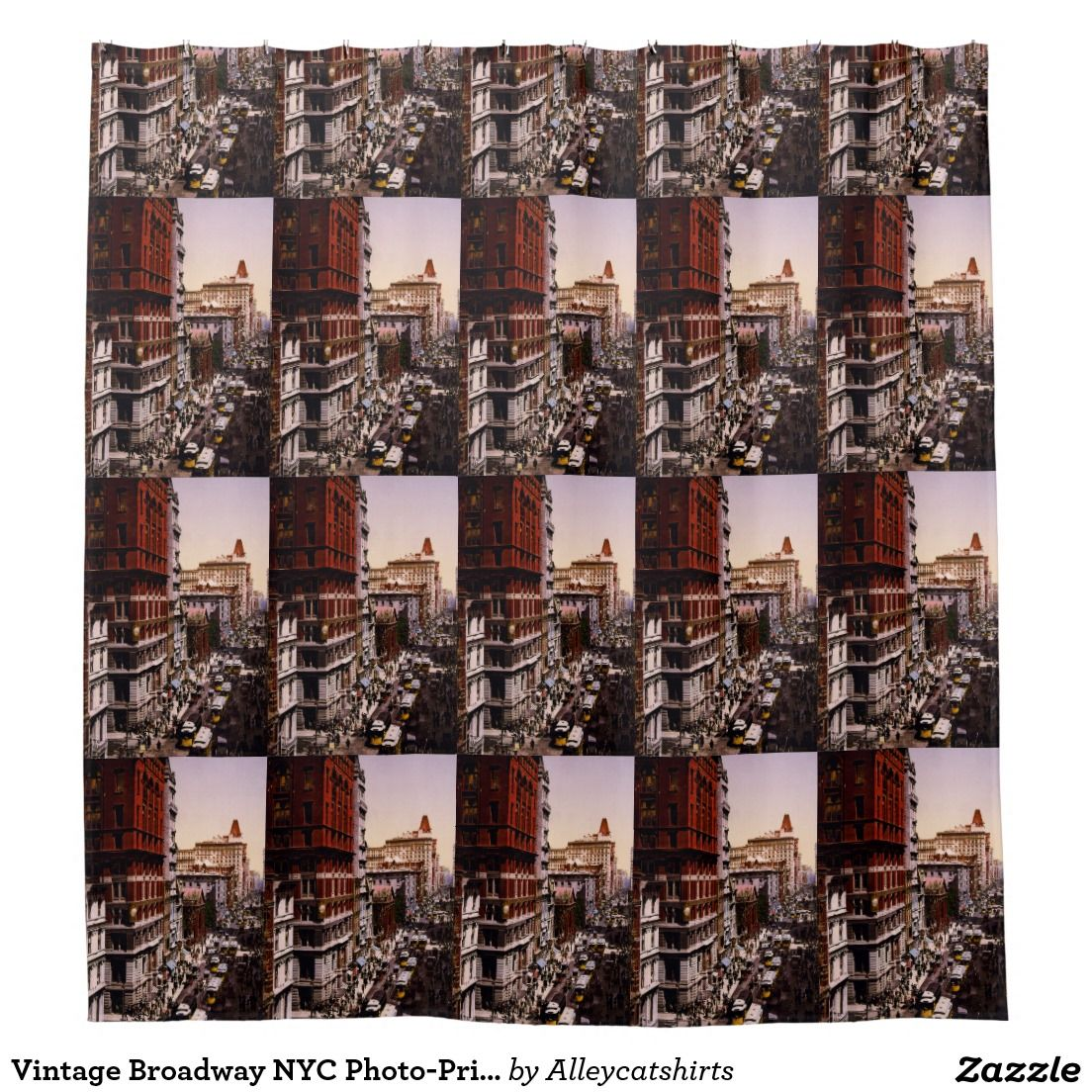 Shop Vintage Broadway NYC Photo Print Shower Curtain Created By Alleycatshirts