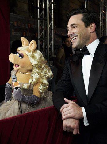 Miss Piggy and John Hamm