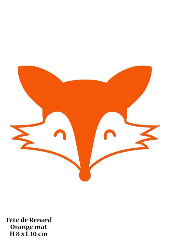 Motif Tête Renard En Flex Thermocollant Orange Mat