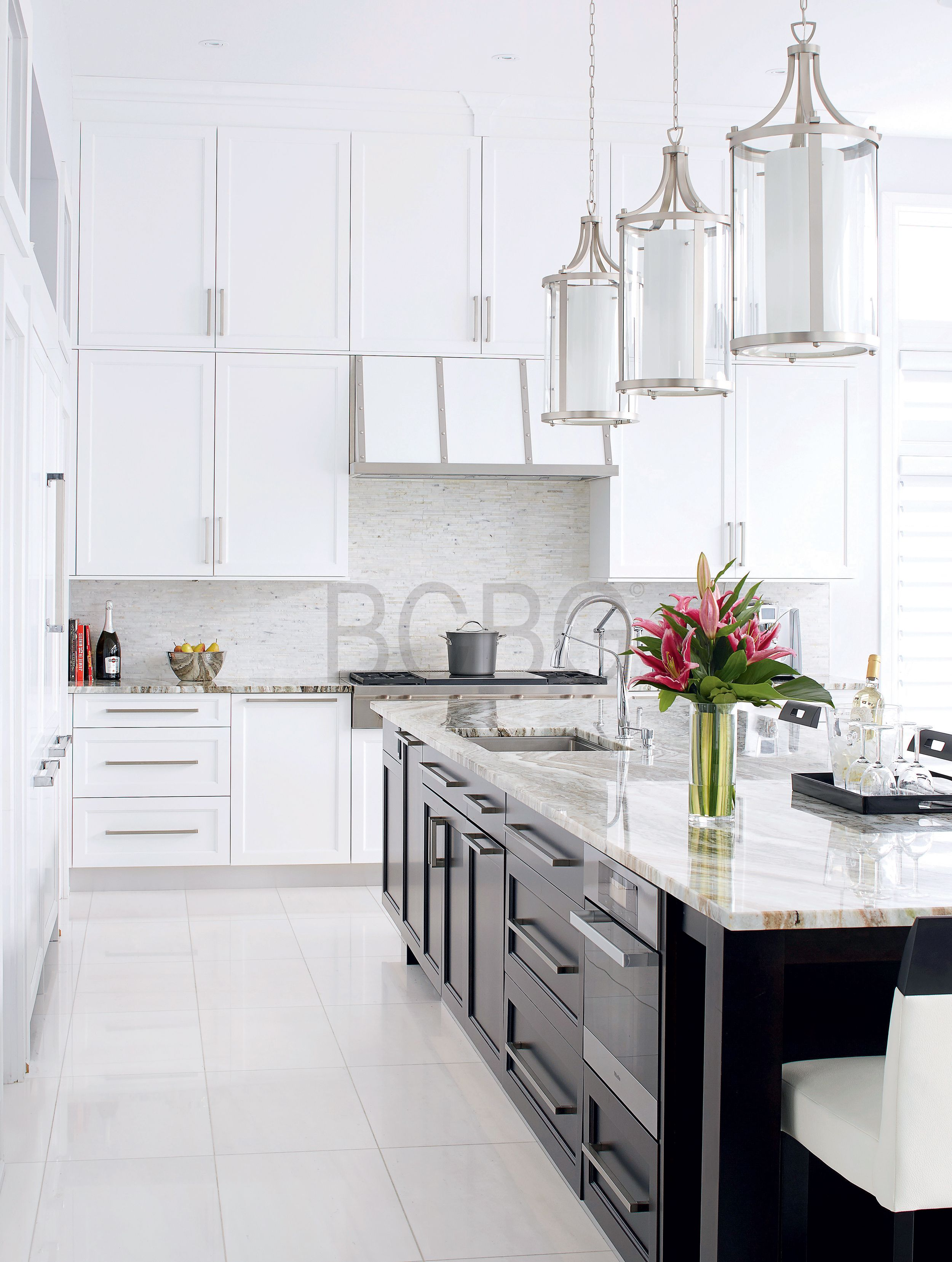 Classic contemporary kitchen style with maple cabinet painted in ...