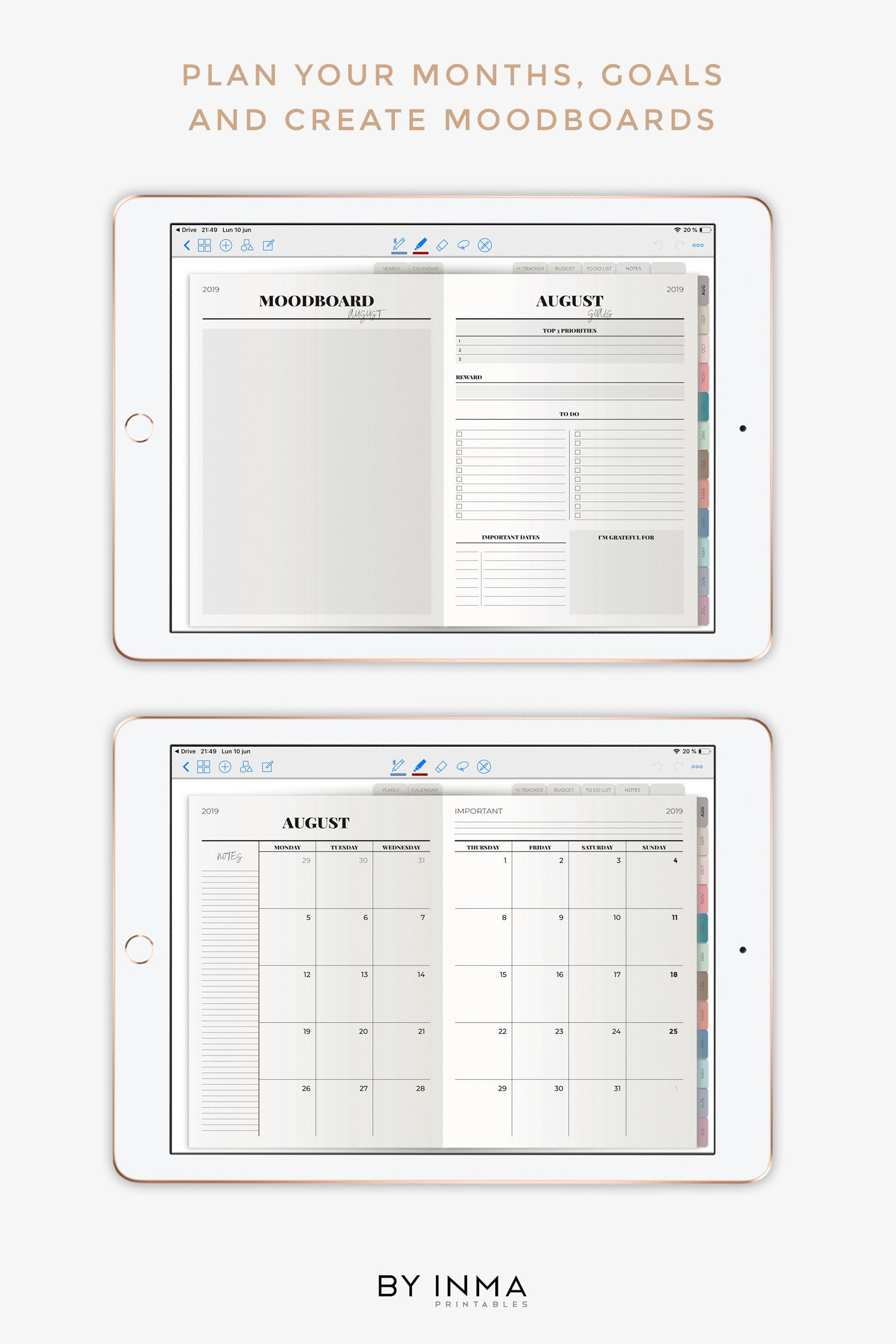 Digital Planner Goodnotes Ipad Pro 2020 Dated Weekly Planner With Hyperlinks Tabs Digital Stickers And Marble Cover Included Pdf Digital Planner Digital Sticker Weekly Planner