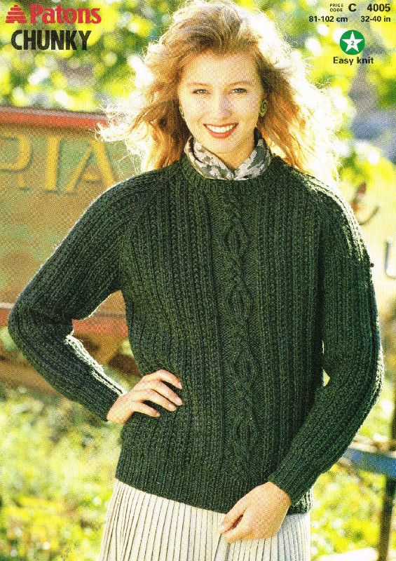 Patons 4005 chunky ladies jumper vintage knitting pattern Listing in ...