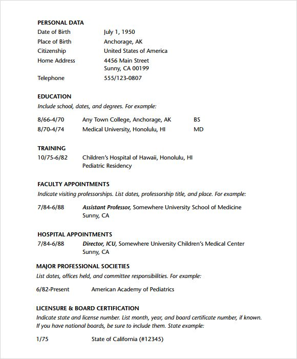 physician sample cv