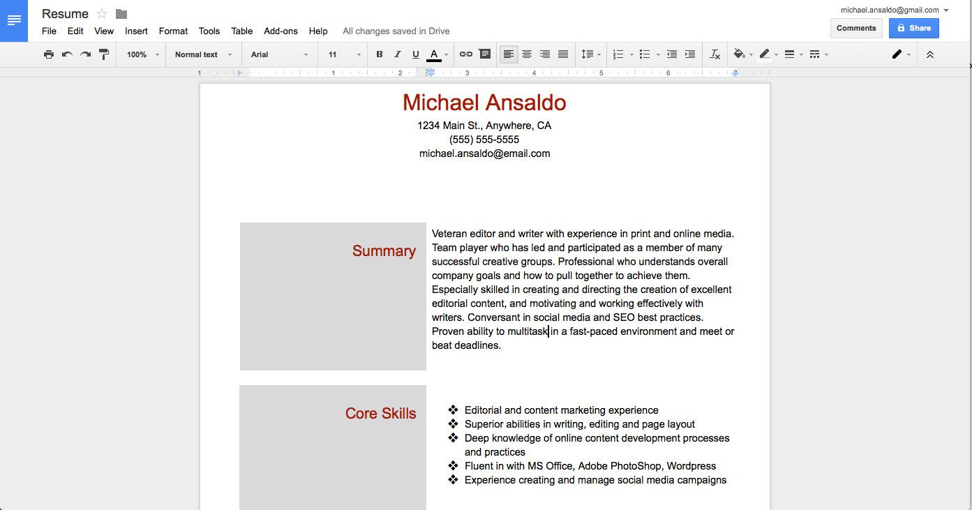 Google Drive Resume Builder High Class Brochure Template