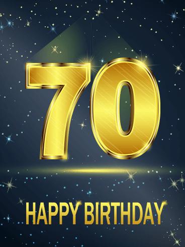 Golden Happy 70th Birthday Card Birthday Greeting Cards By Davia Happy 70 Birthday 70th Birthday Card 70th Birthday