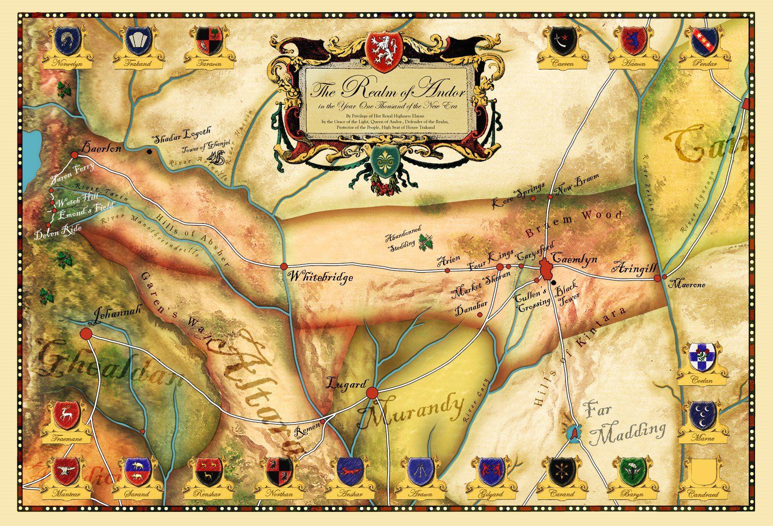 Robert jordan wheel of time map andor wot pinterest