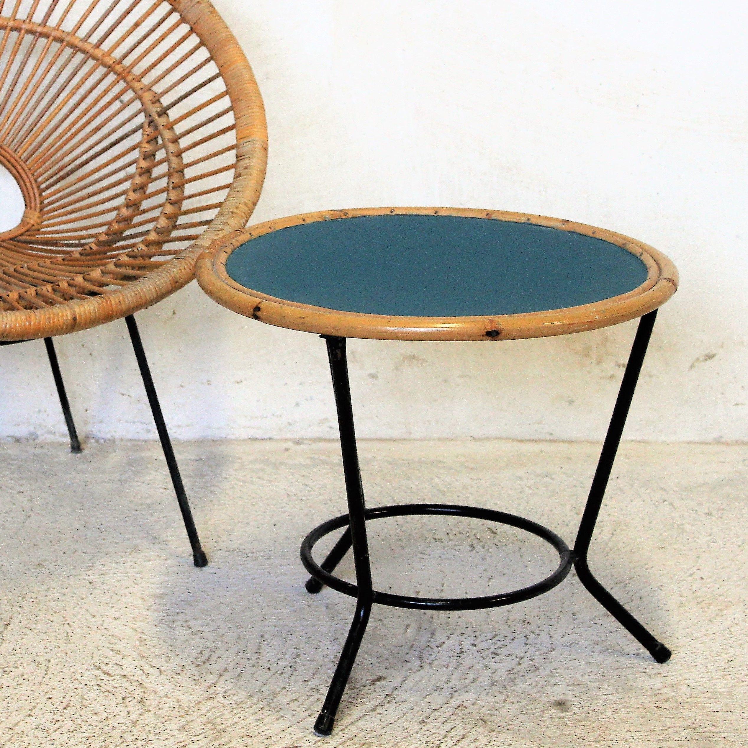 Table basse vintage rotin métal fibresendeco vannerie