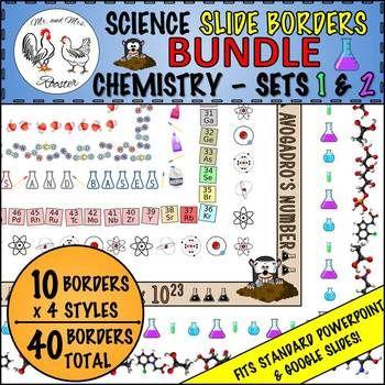 Science Borders Slide (LANDSCAPE) BUNDLE Chemistry Sets 1 \ 2 Lab - new periodic table lesson ppt