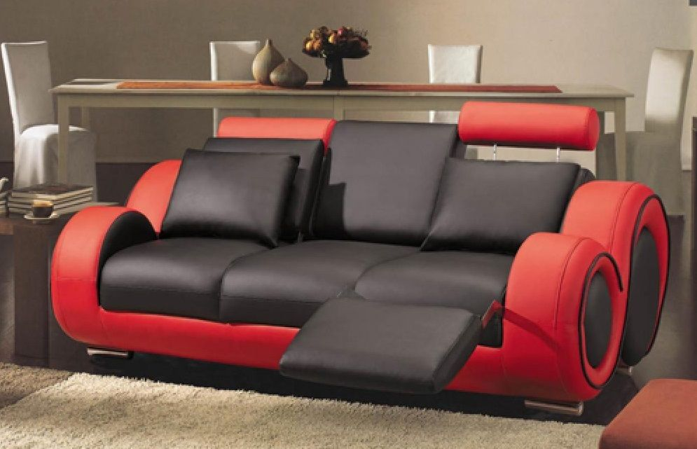 Unique Red Sofas Combined With Black Color Design Finished In