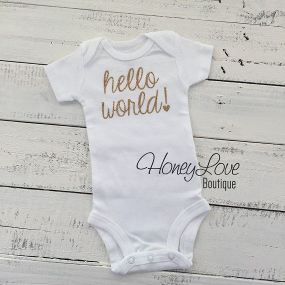 16fe32b5 hello world! Newborn welcome baby girl take home hospital, custom shirt  white bodysuit, SILVER or GOLD sparkle sparkling glitter heart by  HoneyLoveBoutique