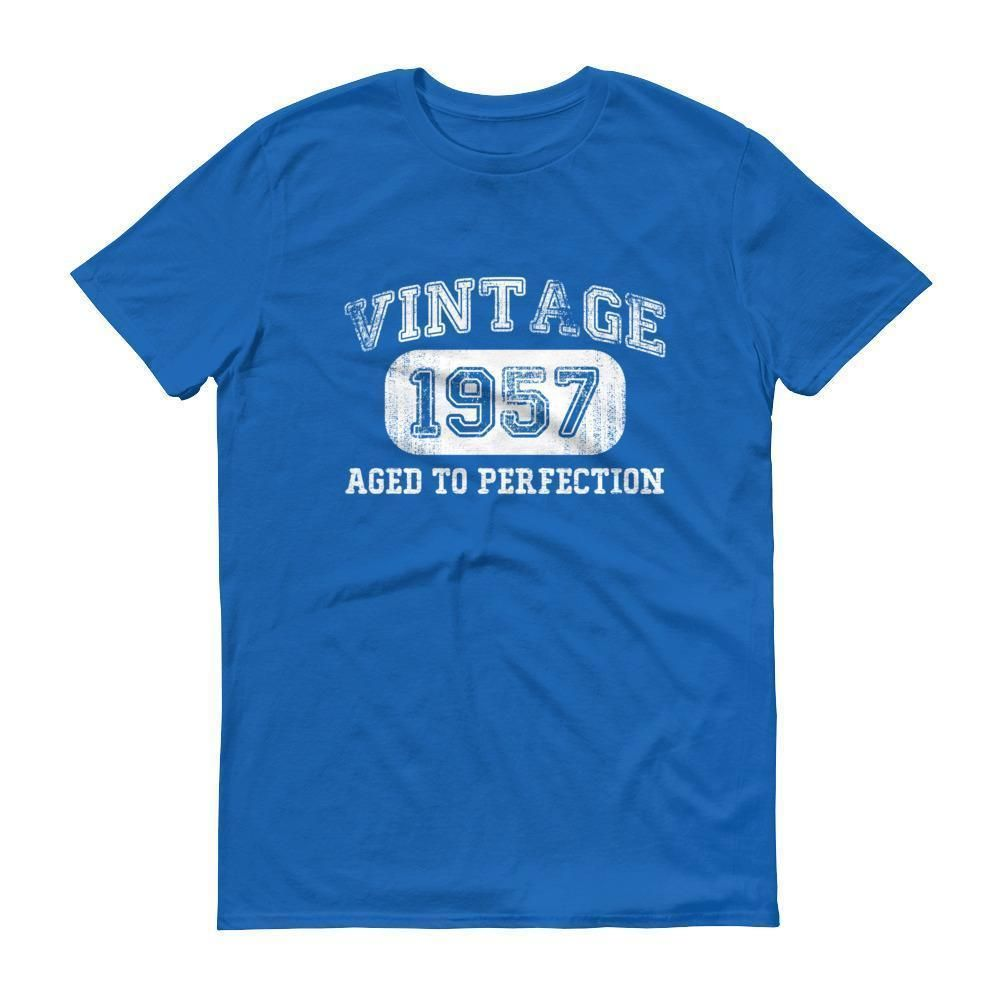 Printed T shirt tee Vintage 1957 aged to perfection happy birthday present gift