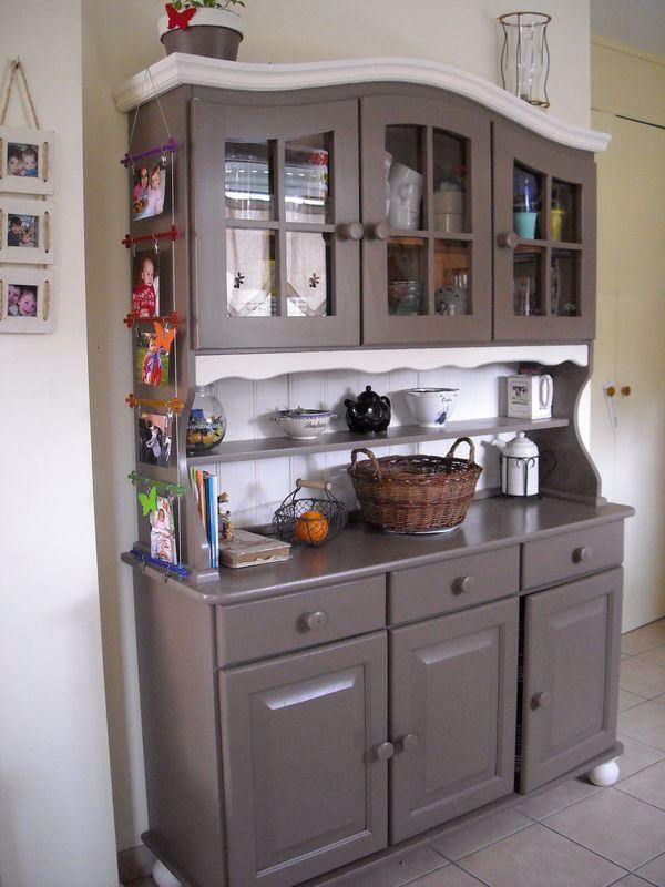 Vaisselier Pin gris foncé et blanc vaisselier Pinterest - moderniser des vieux meubles