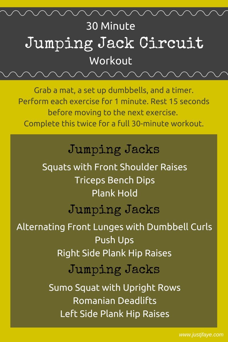 Jumping Jack Circuit Workout A Set Of Dumbbells Is All You Need For Superset Hiit Pinterest This Fun 30 Minute Full Body Justjfayecom