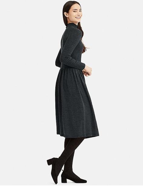 184f941d447 Women 3d extra fine merino ribbed long-sleeve dress