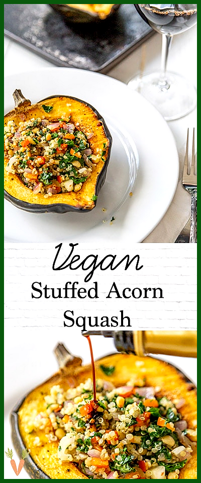 Roasted Stuffed Acorn Squash with Quinoa and Kale A healthy and easy dinner recipe Vegan stuffed ac