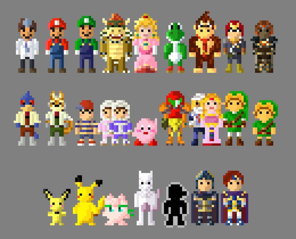 super smash bros melee characters 8 bit by lustriouscharming on