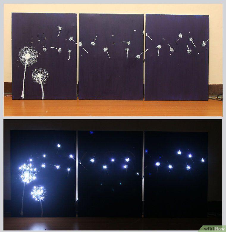 design three panel light up dandelion wall art crafts. Black Bedroom Furniture Sets. Home Design Ideas