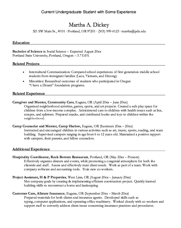 Undergraduate Student With Experience Resume Http