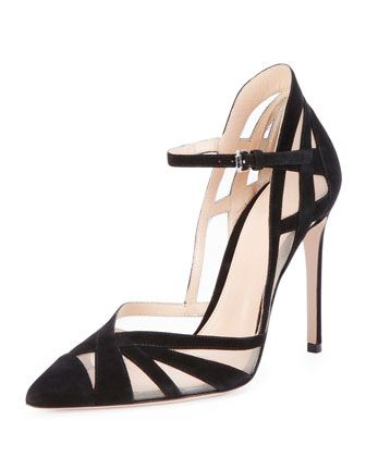 Gorge! Suede & Mesh Ankle-Strap Pump, Black by Gianvito Rossi at Neiman Marcus.