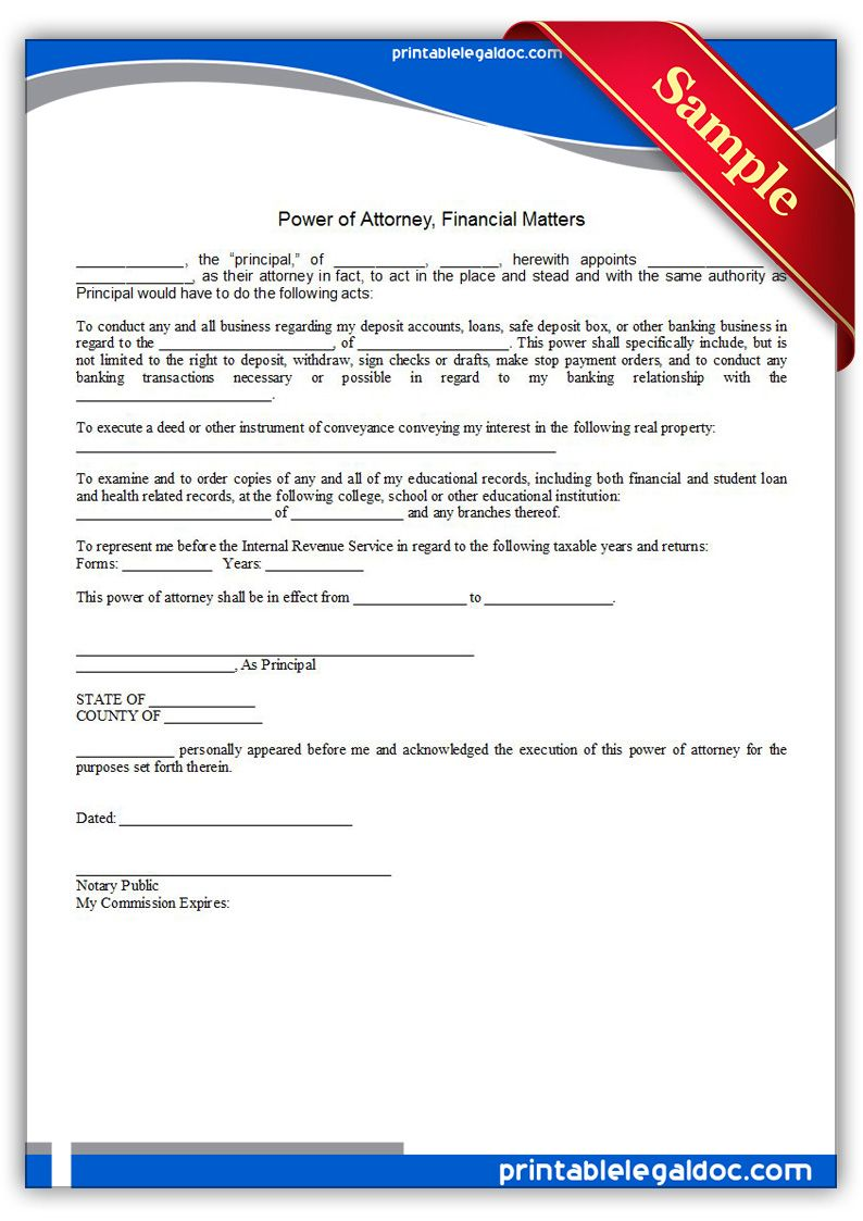 Free Printable Power Of Attorney Financial Matters Legal Forms