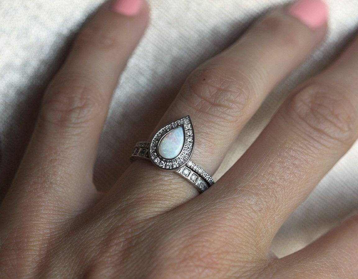 Opal engagement ring opal halo diamond ring pear halo diamond ring