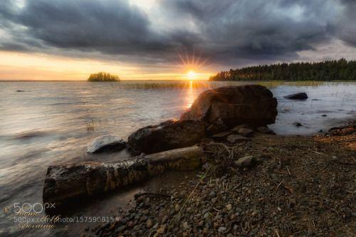 Pyhäselkä Joensuu Finland by TuomoArovainio  landscape lake sunset sun shore suomi Pyhäselkä Finland Joensuu maisema tuomo arovainio lake pyhäsel