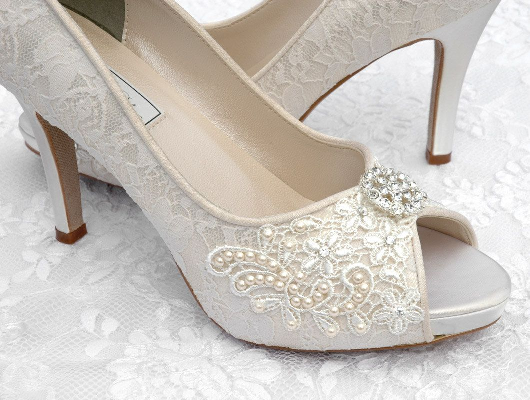 Wedding Shoes Vintage Lace Peep Toe Heels Swarovski Crystals And Pearls Womens Bridal