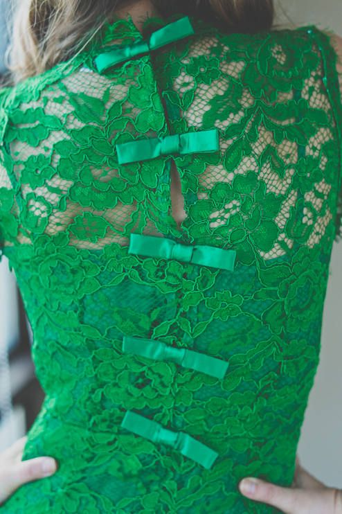 Oasap Back Bowed Green Lace Dress by My Blonde Gal