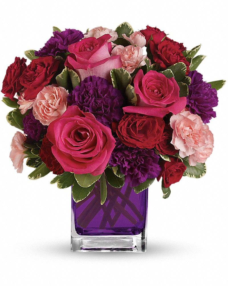 Hot Pink Roses Dark Red Spray Roses Purple Carnations And Pink