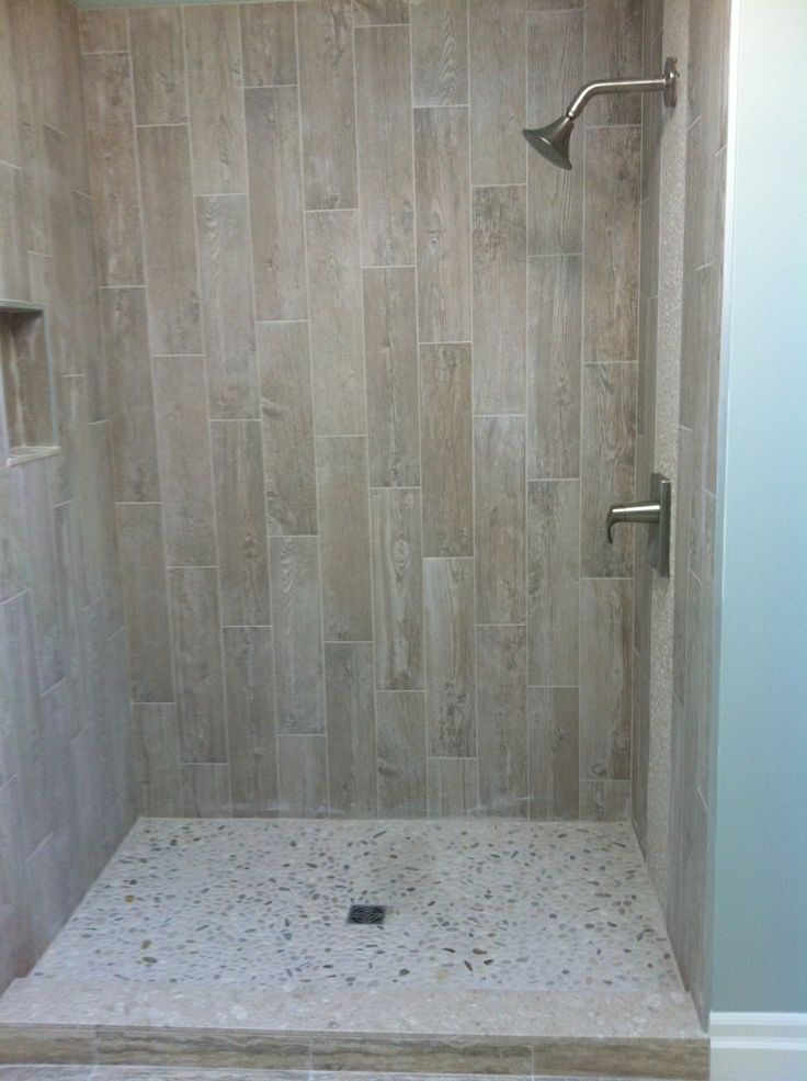 Grey wood tile bathroom