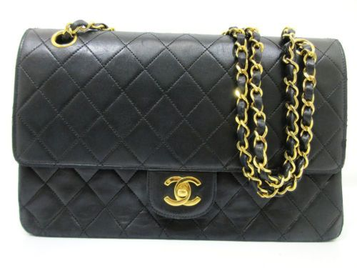 57a967ed9e00f7 Details about Auth CHANEL Matelasse Chain Shoulder Bag Black Patent ...