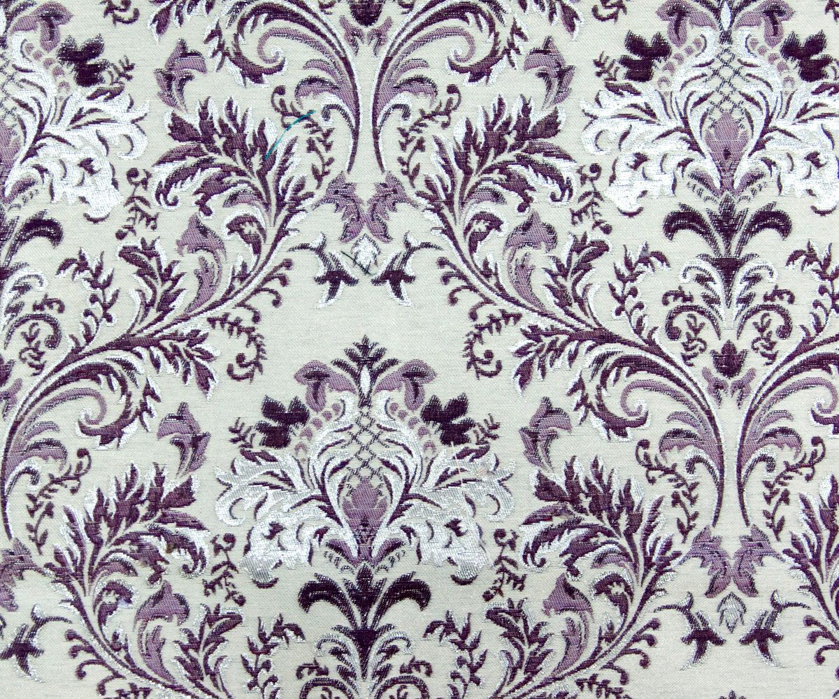 Purple & Silver Damask SO Fabric By The Yard Curtain Fabric ...