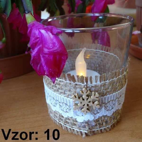 Sklenený svietnik Jarko - Sviečka - S čajovou sviečkou LED (plus 1€), Vzor - Vzor 10
