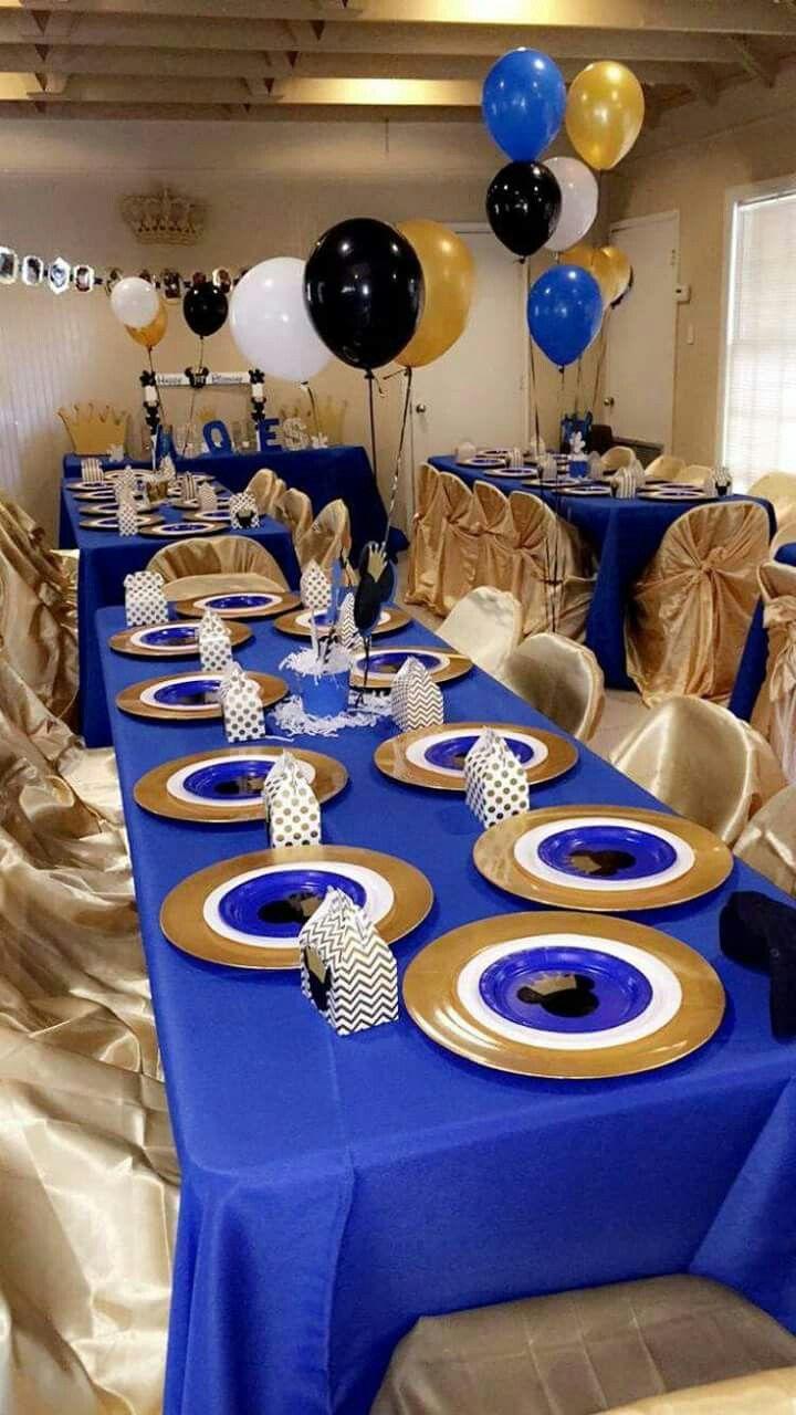 desert table: blue over white table cloths | Baby Boy in ...