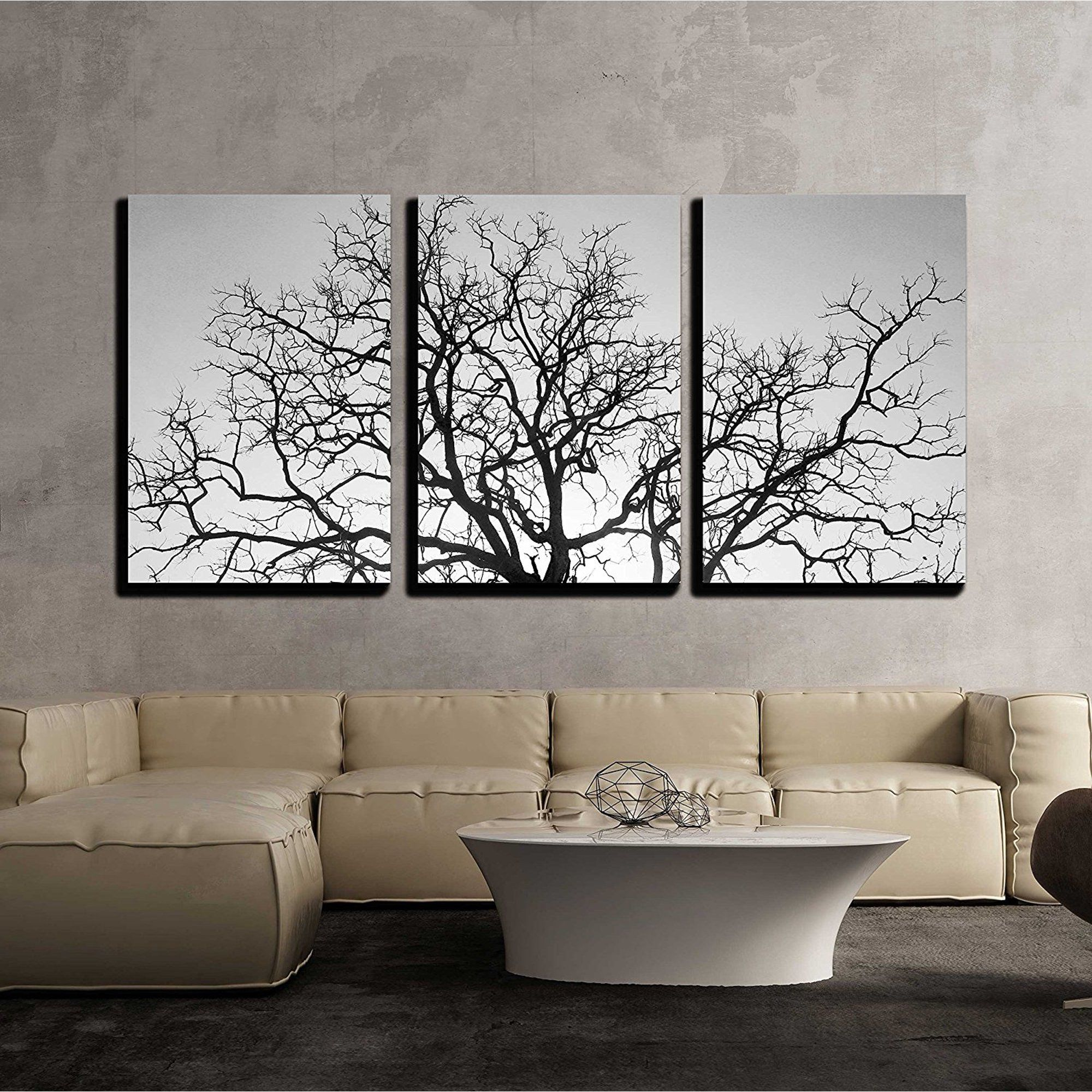 Wall26 3 Piece Canvas Wall Art Dead Tree Branch Black And White Modern Home Decor Stretched And Framed Ready To Hang 24 X36 X3 Panels Walmart Com Large Wall