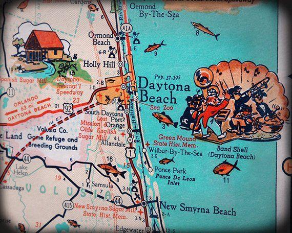 Daytona Beach New Smyrna beach Ormond beach retro map print funky ...